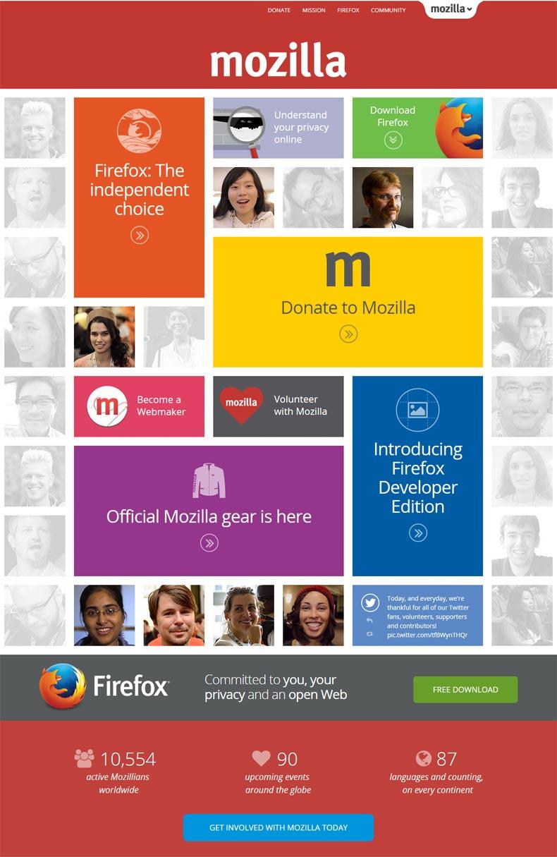 Mozilla landing page