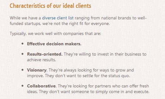 ideal client characteristics