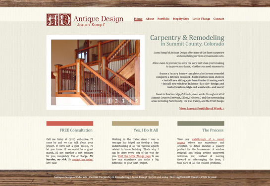 Web design screenshot for Colorado custom carpentry company