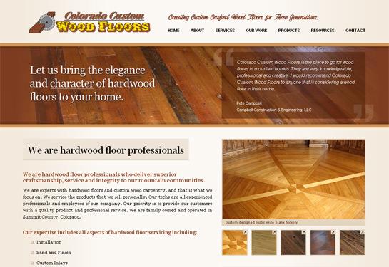 Web design screenshot for Colorado custom wood flooring company