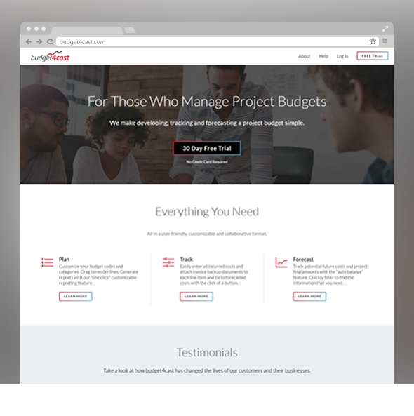 Screenshot of website homepage for 4cast (Denver web application project)