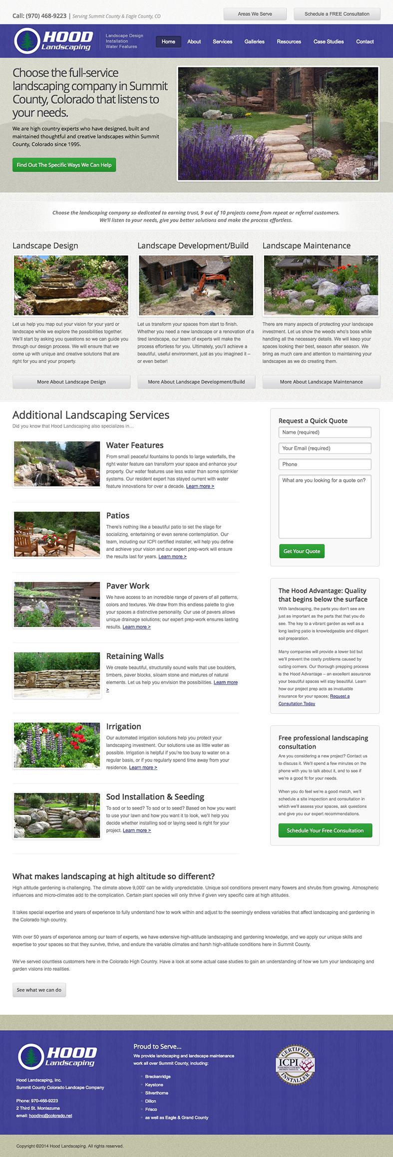 Hood Landscaping Homepage